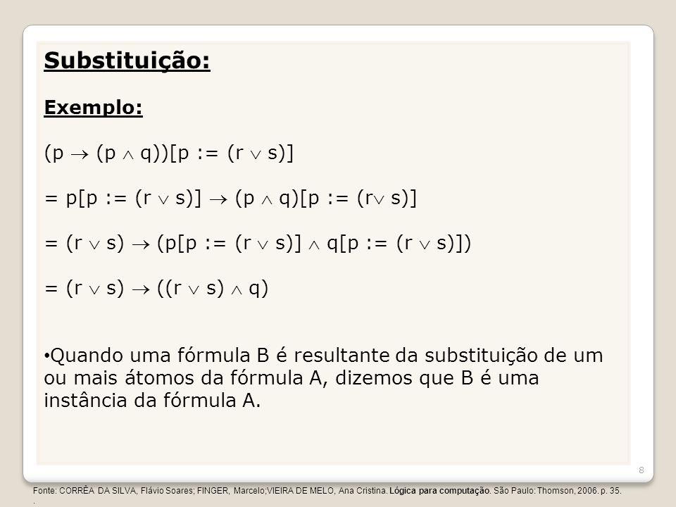 Substituição: Exemplo: (p  (p  q))[p := (r  s)]